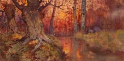 """ANDRÉS LARRAGA Y MONTANER (Valtierra, Navarra, 1862 – Barcelona, 1931).""""Paisaje boscoso""""."""