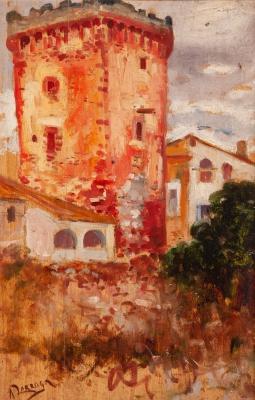 """ANDRÉS LARRAGA Y MONTANER (Valtierra, Navarra, 1862 – Barcelona, 1931).""""Torre del moro""""."""