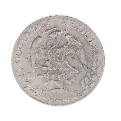 Moneda de 8 reales mexicanos; Guanajuato, 1892.