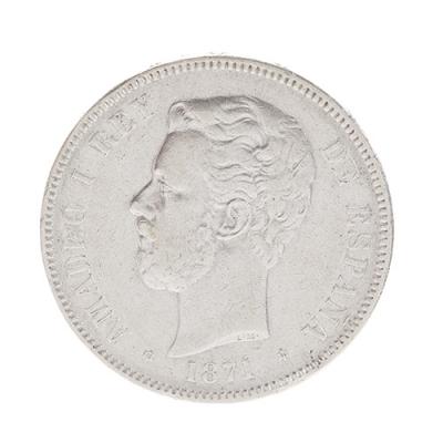 Moneda de 5 pesetas de Amadeo I; Madrid, 1871.