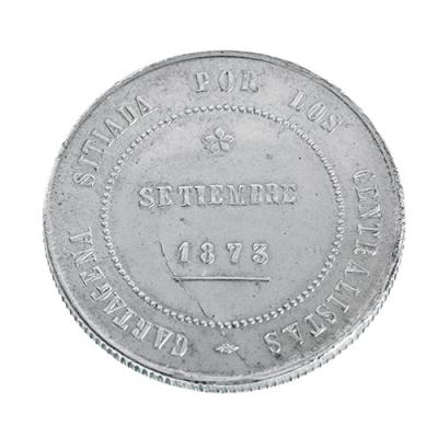 Moneda de 5 pesetas en plata.