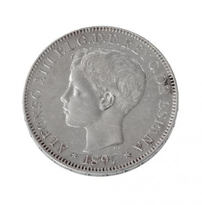 Moneda de Un Peso del Rey D. Alfonso XII en plata