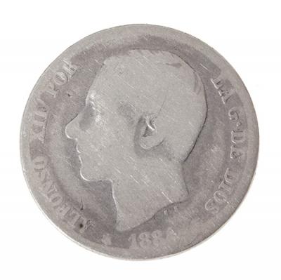 Moneda de Una Peseta de Alfonso XII de 1884 (MS-M).