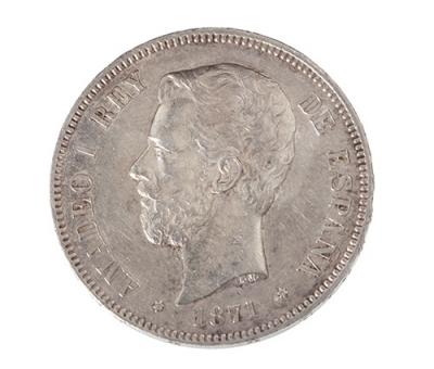 Moneda de 5 Pesetas del Rey. D. Amadeo I.