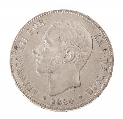 Moneda de 5 Pesetas del Rey D. Alfonso XII.