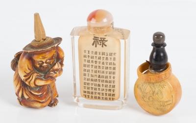 Colección de tres botellitas de rapé; China, siglo XX.