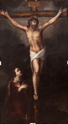 """""""Cristo crucificado con María Magdalena"""" Escuela españo"""