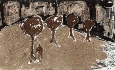 """FRANCESC PUNTÍ CASTANY (Taradell, 1959). """"Figura con árboles""""."""