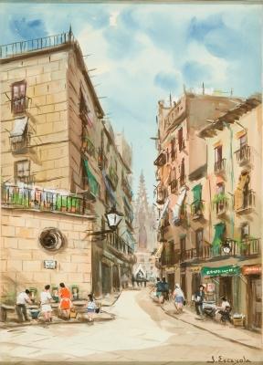 """""""Calle de Barcelona"""". ESCAYOLA BLANCH, Joan"""