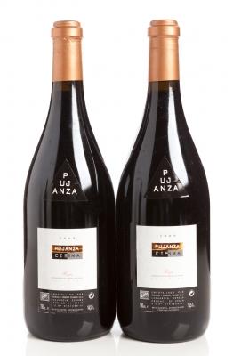 Dos botellas de Pujanza Cisma 2009.
