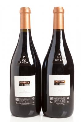 Dos botellas de Pujanza Cisma 2007.