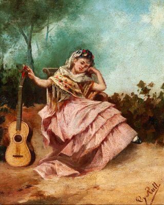 """Maja con guitarra"". JOAQUÍN ESPALTER RULL"