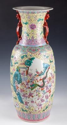 Jarrón chino, siglo XX. Porcelana esmaltada