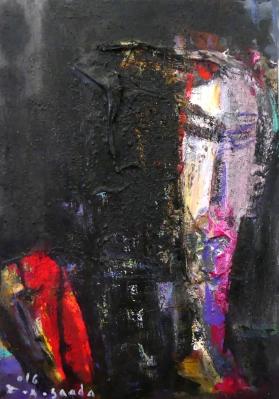 Lote: 35143001Fouad Abou Saada (Siria, 1946).Un rostro en la oscuridad.