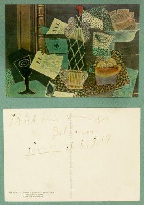 PABLO RUIZ PICASSO (Málaga, 1881 - Mougins, France, 1973).Original postcard from Picasso to the Pallarès family, 06.