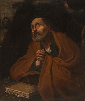 """""""Las lágrimas de san Pedro"""" Escuela toledana del siglo XVII."""