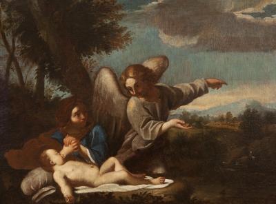 """""""Descanso en la huida a Egipto"""" Escuela italiana del siglo XVII."""