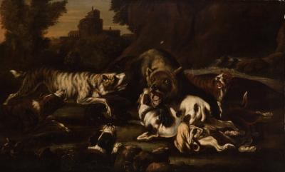 """""""La caza del oso"""" Escuela flamenca del siglo XVII. Segu"""