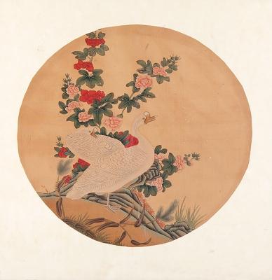 Acuarela china en papel arroz enmarcada, periodo Qing.