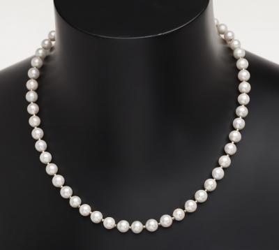 Collar con un hilo de perlas cultivadas blancas esféricas, de ca.