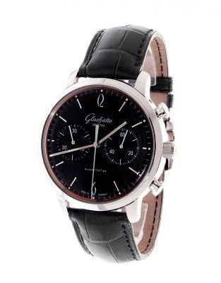 Reloj GLASHÜTTE original Calibre 39.  Esfera circular en negro con numeración plateada a trazos