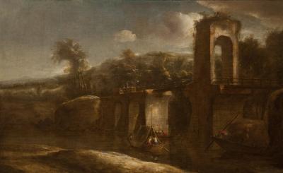"""""""Paisaje con ruinas"""" Escuela holandesa del siglo XVII."""