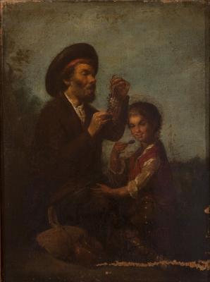 """""""Padre e hijo"""". Escuela española del siglo XVIII."""