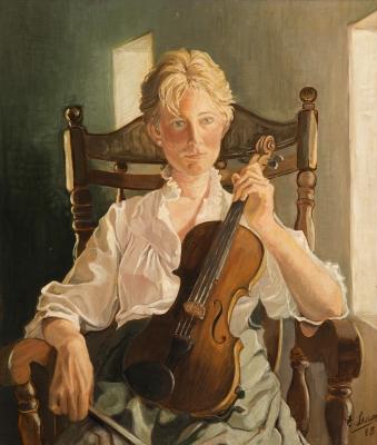 """""""Violinista"""" Escuela española de finales del siglo XX."""