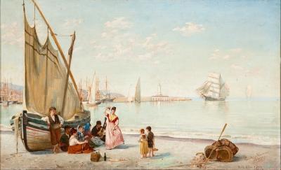"""""""Puerto"""", Málaga, 1877. HERRERA VELASCO, Emilio"""