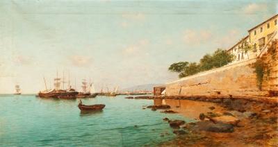 """""""Puerto de Málaga"""", 1880. Enrique Florido Bernils"""