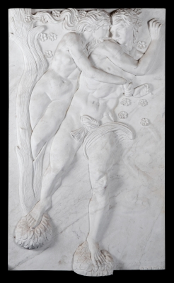Relieve moderno de estilo romano. Mármol blanco