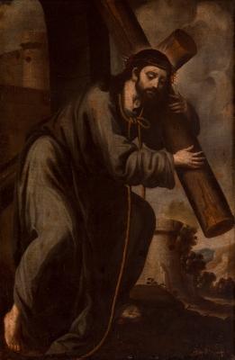 """""""Cristo cargando con la Cruz"""" Escuela española del siglo XVII."""