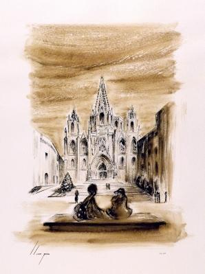 LLOP BOSCH, Lluis (Tortosa, 1959)Catedral de Barcelona.Dibujo a nogalina sobre papel acuarela Torchon Canson.