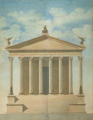 """""""Fachada de templo clásico"""" Escuela española de la segu"""