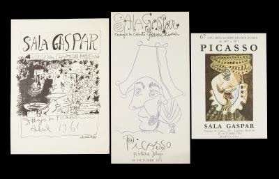 Tres carteles de exposiciones de Picasso en la Sala Gas