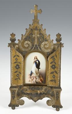 Altar portátil neogótico, siglo XIX. Cartón grabado