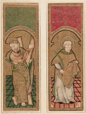 Pareja de bordados del siglo XVI. Medidas: 46 x 15