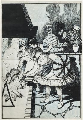 "Lote: 35198017Ricardo Opisso i Sala (Tarragona, 1880 – Barcelona, 1966).""La política colonial europea""."