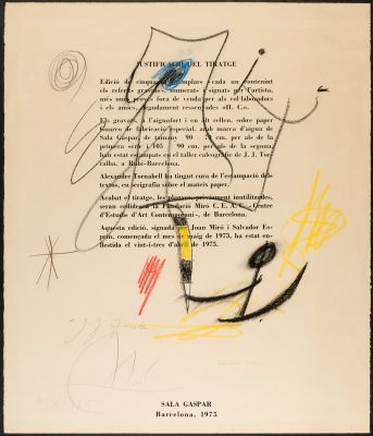 "JOAN MIRÓ I FERRÀ (Barcelona, 1893 – Palma de Mallorca, 1983). ""Sin título"
