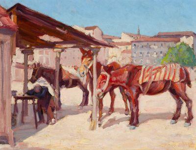 """JOSÉ SEIJO RUBIO (Madrid, 1881 - La Coruña, 1970).  """"Siesta del arriero y descanso de las mulas""""."""