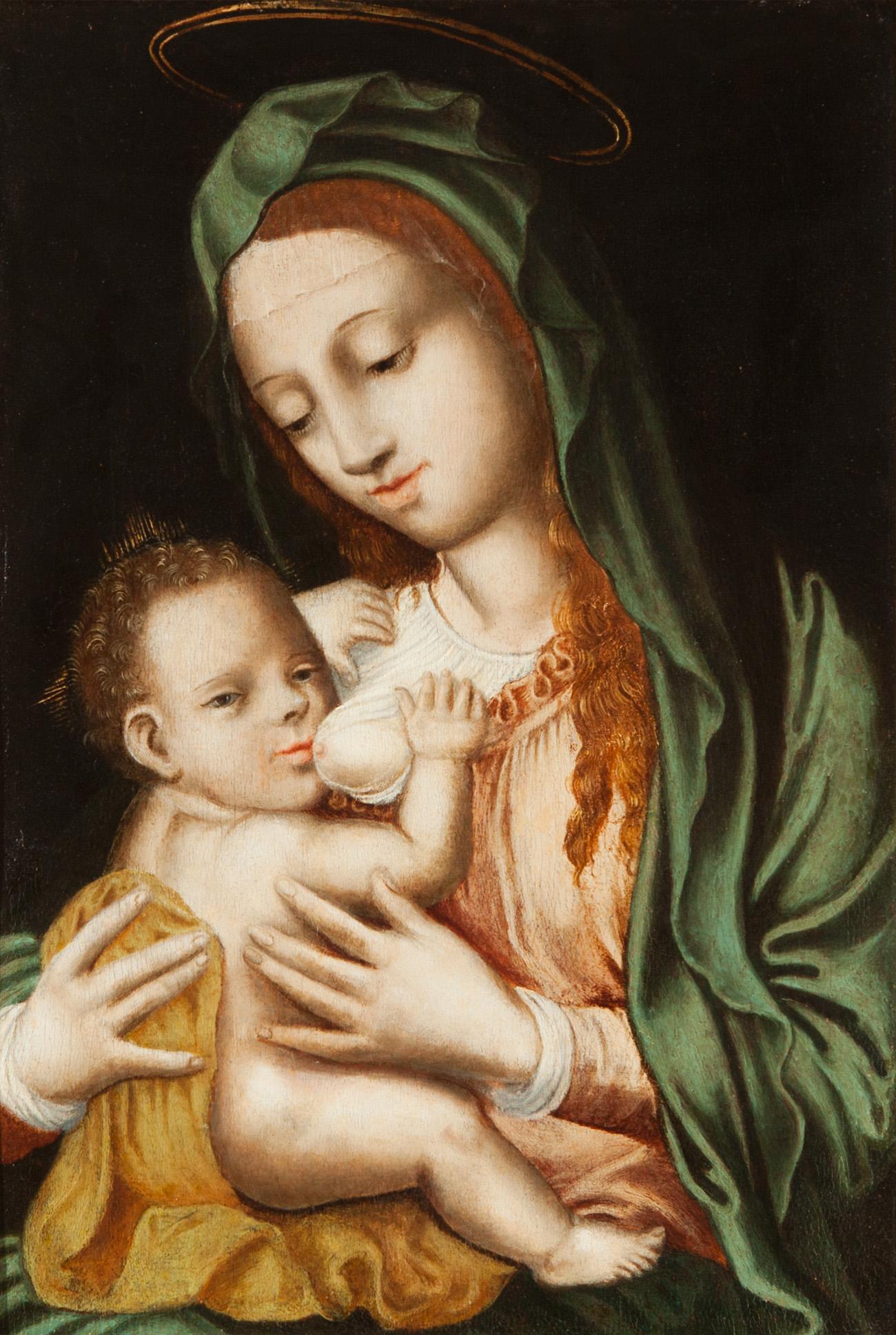 """""""Virgen de la leche"""" Escuela flamenca del siglo XVI."""
