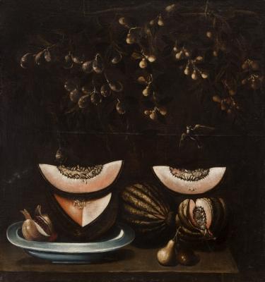 """""""Bodegón con melones"""" Escuela Española del siglo XVII."""