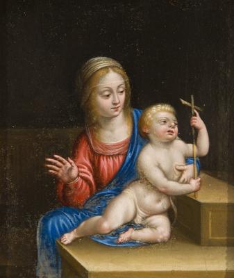 """""""La Virgen con el Niño"""" Escuela italiana del siglo XVII."""