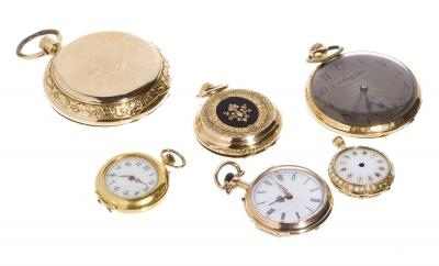 Conjunto de seis relojes de bolsillo.