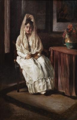 """Interior con dama"". Ramiro Lorenzale Rogent"