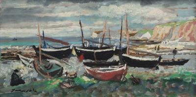 """Les barques a Yport"", 1951. Emilio Grau Sala"