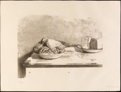 """ANTONIO LÓPEZ GARCÍA (Tomelloso, Ciudad Real, 1936). """"Bodegón del pollo"""