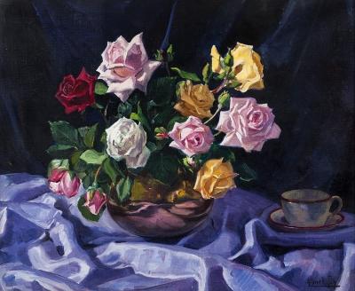 """""""Bodegón de rosas"""". Albert Ràfols i Cullerés"""