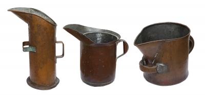 Conjunto de tres recipientes del siglo XIX. Cobre.