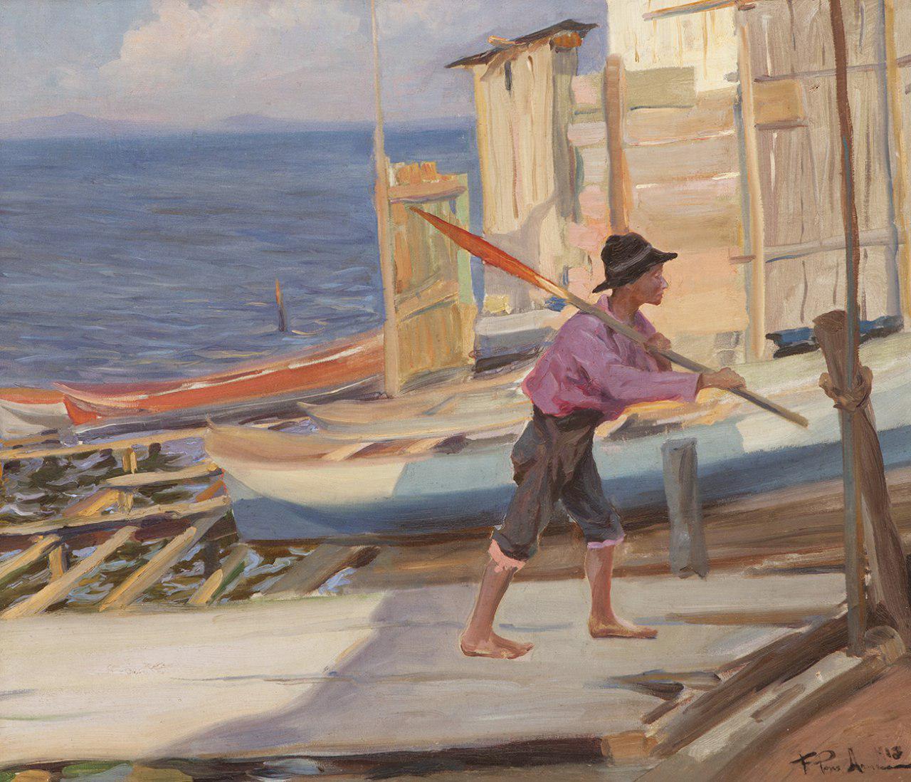"Francisco Pons Arnau (Valencia 1886 – Madrid, 1955). ""Puerto"". Óleo ..."